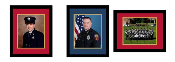police fire digital mat framed samples